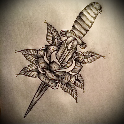 sketch of tattoo dagger