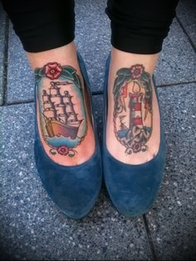 tattoo on the foot ship