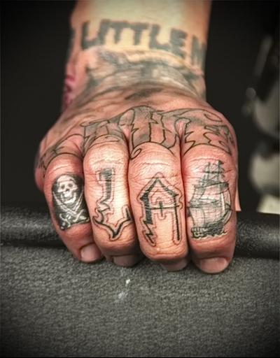 tattoo on the hand ship