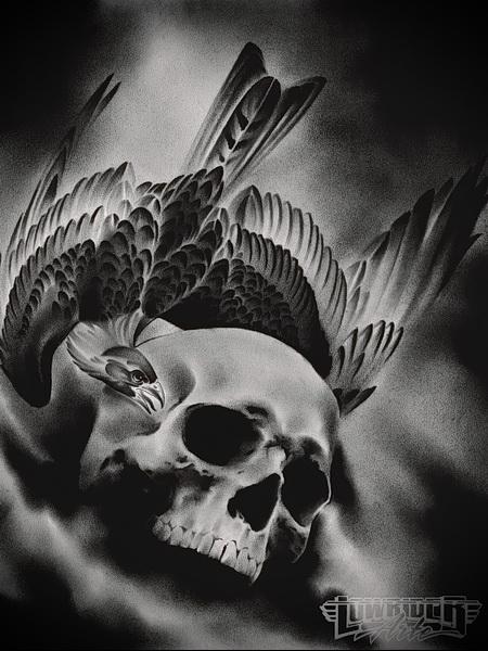 tattoo skull and raven