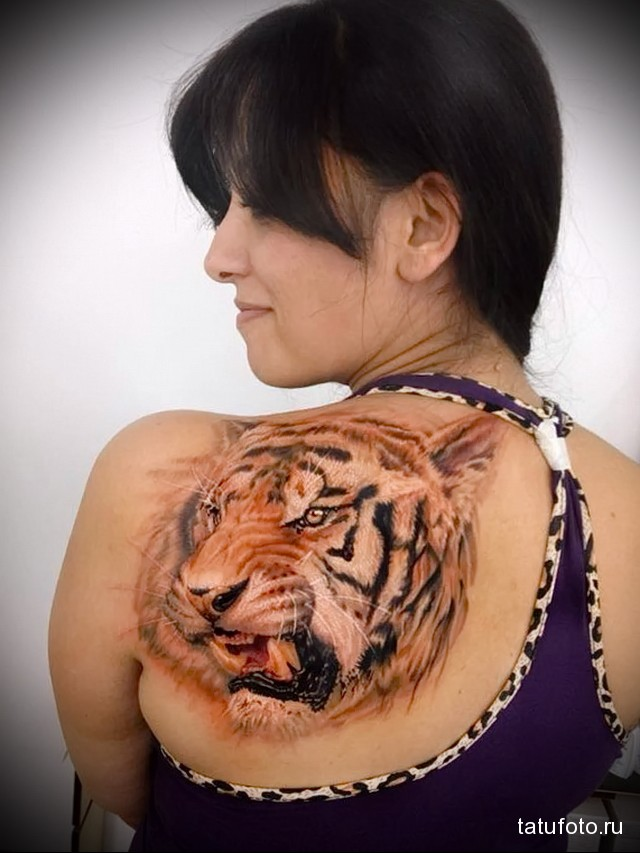 tiger tattoo on shoulder blade