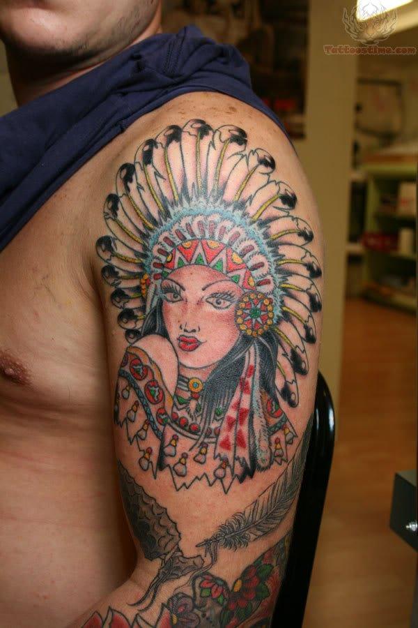 Татуировка лицо индейца