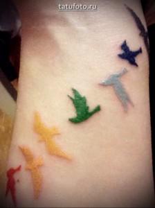 Женская рука в области запястья с татуировками птиц