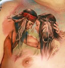Татуировка с влюбленными индейцами