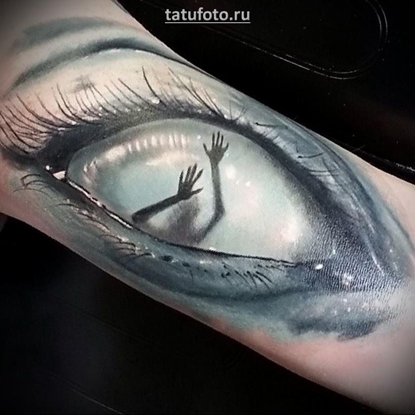 Татуировка в виде глаза в необычном исполнении