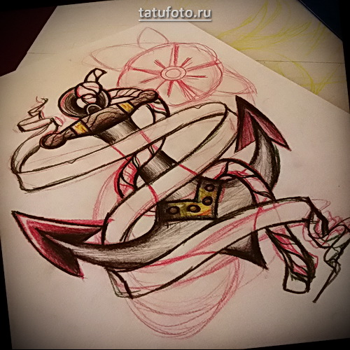 Пример, который демонстрирует как делается татуировка якорь эскиз