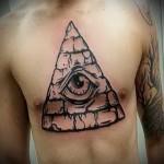 Всевидящее око тату и пирамида на груди