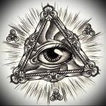 Всевидящее око тату эскиз в треугольнике