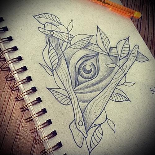 Всевидящее око тату эскиз карандашом