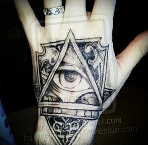 Татуировка с всевидящим оком на открытой части руки