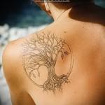 Дерево жизни тату вписаное в круг на лопатке