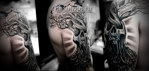 Дерево жизни тату и череп - татуировка на руке и плече