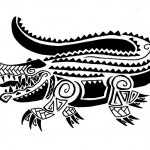 Полинезия тату эскизы - крокодил