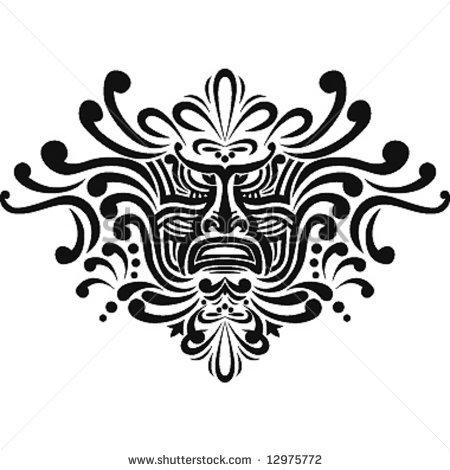 Полинезия тату эскизы - морда божества