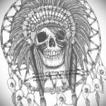 Тату ловец снов эскиз - вариант с черепом