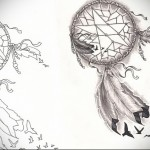Тату ловец снов эскиз - ветер и птицы