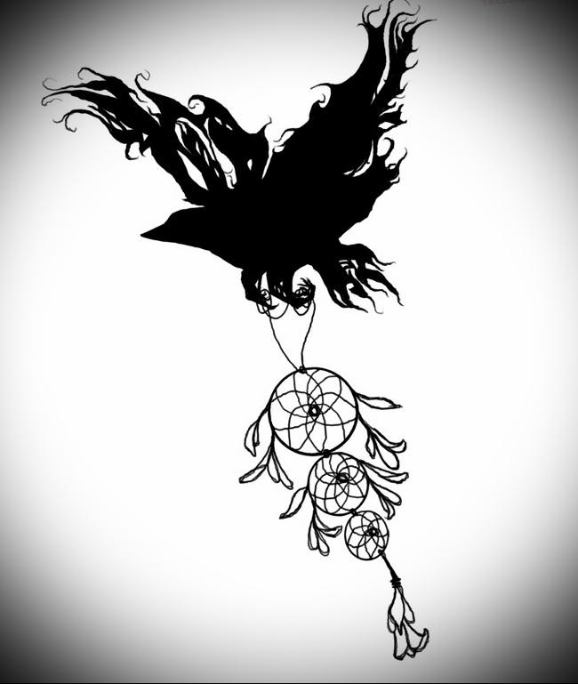 Тату ловец снов эскиз - в лапах черного ворона