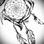 Тату ловец снов эскиз - комбинация рисунка с пацтиной