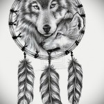 Тату ловец снов эскиз с волком