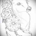 Тату ловец снов эскиз - с цветами и оленем