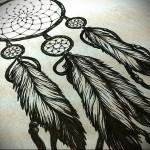Тату ловец снов эскиз - явные черные цвета и контуры