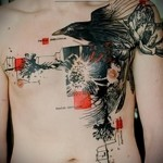 Трэш Полька Тату - ворон на груди