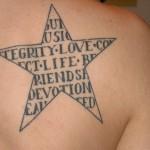 татуировка звезда с надписью внутри на лопатке