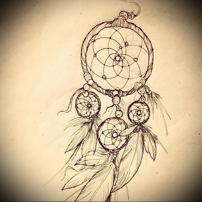 Тату ловец снов эскиз - классика карандашом