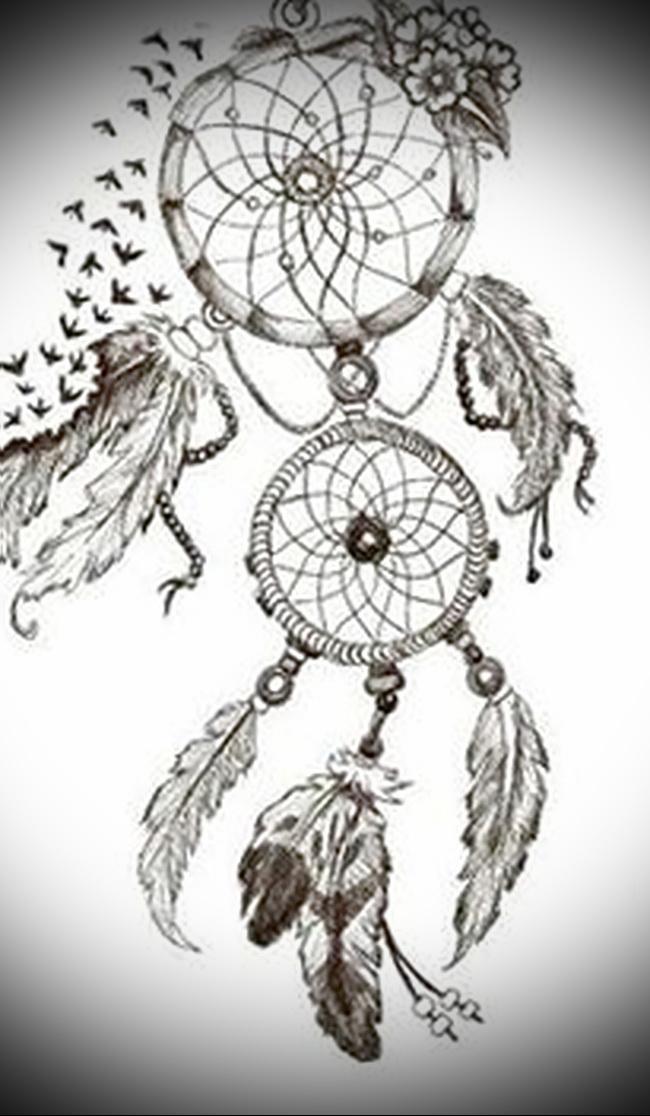 Тату ловец снов эскиз - перья и стая птиц