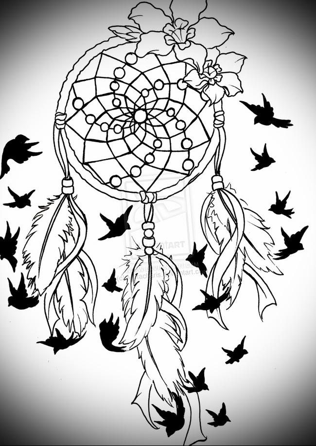 Тату ловец снов эскиз - цветы и черные птицы