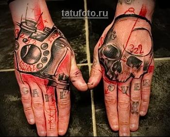 Трэш Полька Тату - череп и оружие на руки