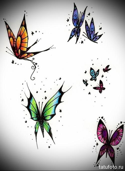 Эскиз татуировки с бабочкой 19