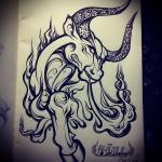 бык с огнем из ноздрей - Тату быка эскиз
