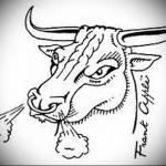 бык у которого пар и ноздрей - Тату быка эскиз