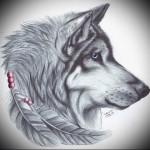 красивый эскиз татуировки волк с перьями
