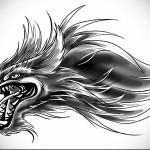 крутой эскиз для татуировки с волком, который показывает зубы