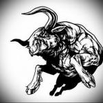мускулистный, здоровый бык - Тату быка эскиз