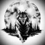 татуировка волк и полная луна на фоне леса