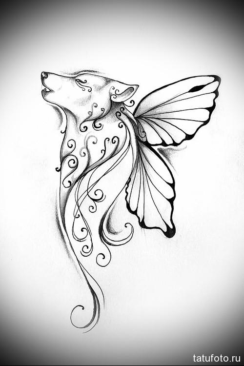 татуировка волк с крыльями бабочки
