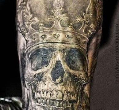 татуировка череп в королевской короне фото