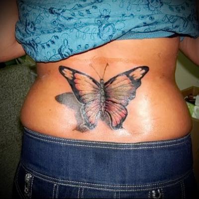 тату бабочки на пояснице