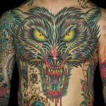 тату волк на груди 2