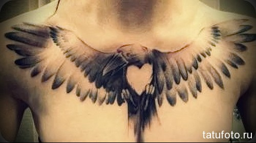 тату ворон с сердцем на всю грудь