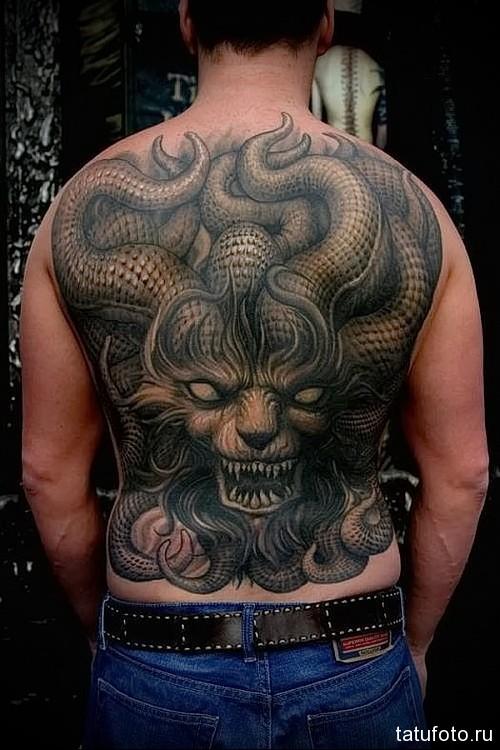 тату на спине дракон 2