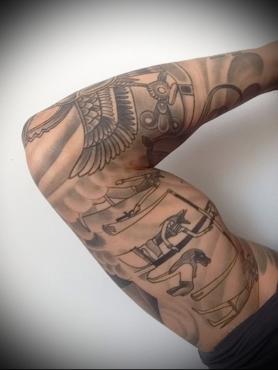 тату рукав египетская тематика рисунков