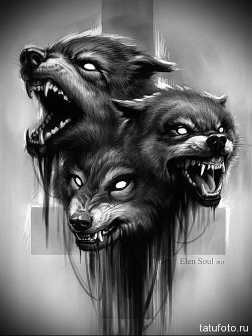 тату черный волк 1