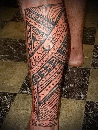 трайбл тату на ногу - нижняя часть - для мужчины