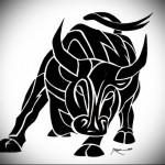 черный бык - Тату быка эскиз