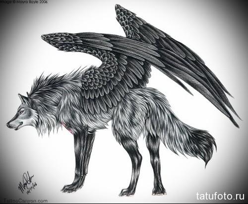 эскиз татуировки волк с крыльями