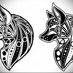 эскиз татуировки волчица
